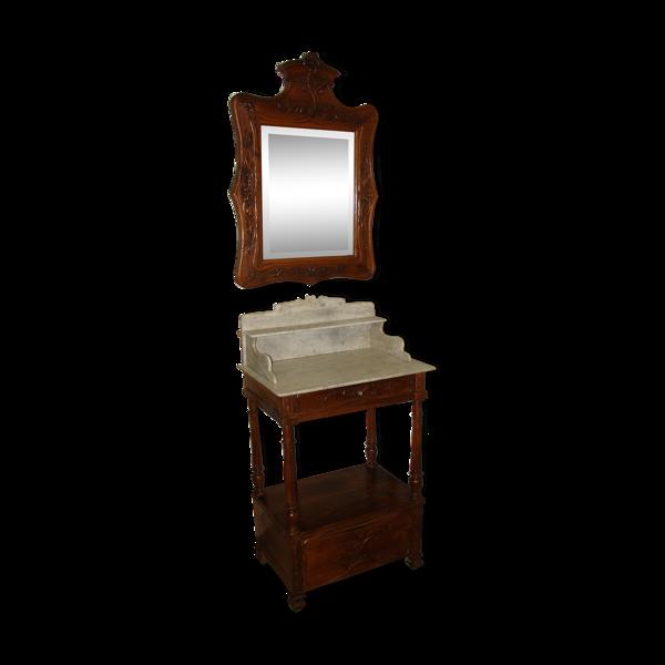 Table de toilette et son miroir en noyer vers 1880
