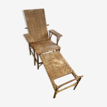 Old rattan deckchair