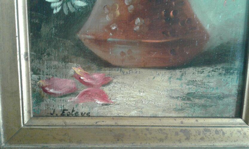 """Tableau """"nature morte au bouquet de roses et marguerites"""" 1900"""