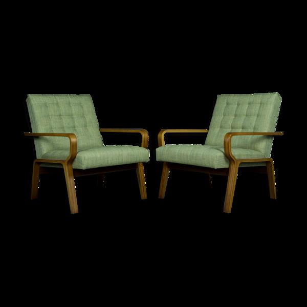 Paire de fauteuils Ludvik Volàk en bois plié et tissu vert, vintage tchèque 1960