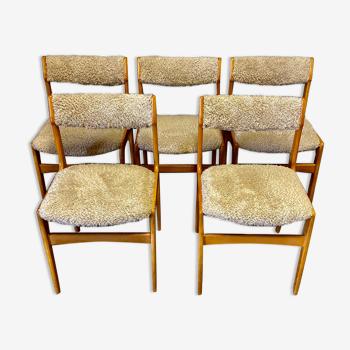 Suite de 5 chaises 1950 design scandinave.