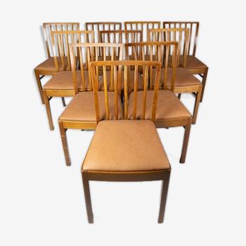 Lot de 10 chaises des années 1940