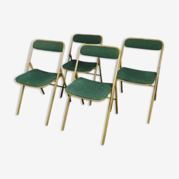 Quatre chaises pliantes velours vert