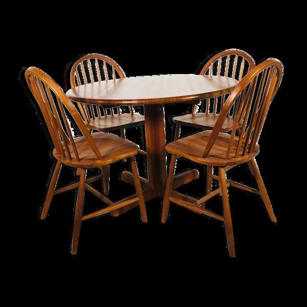 Selency Ensemble de salle à manger scandinave en teck avec table et 4 chaises, 1960