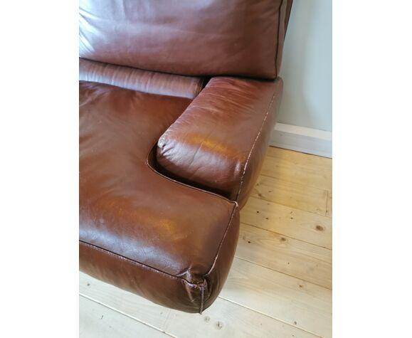 Canapé en cuir marron design italien