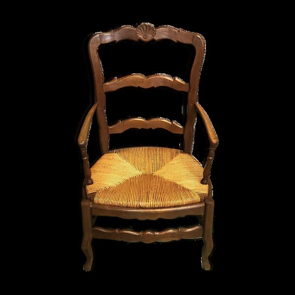 Fauteuil campagnard Louis XV en chêne XIXème