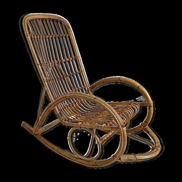 Rocking-chair en rotin vintage 60's