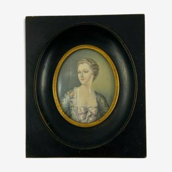 Miniature peinte a la main signee andre portrait femme noble cadre bois