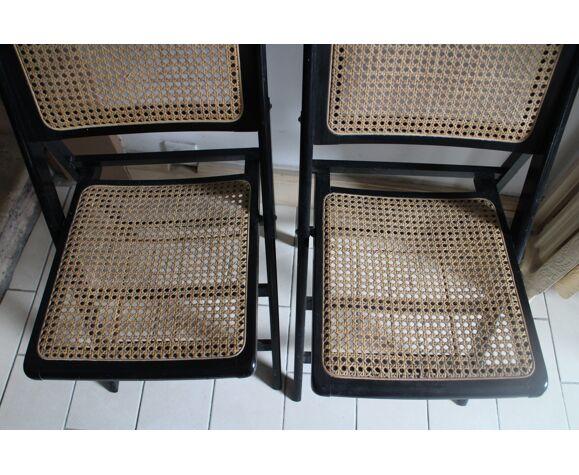 Paire de chaises pliantes bois et cannage