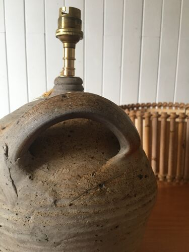 Lampe poterie et abat-jour rotin et papier, câble tressé 2 m