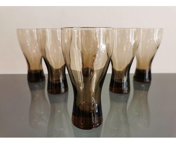 Service de 6 verres vintage à orangeade années 70