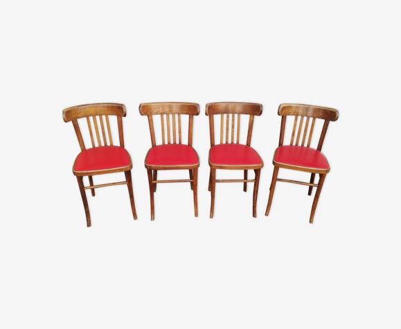 Set de 4 chaises de bistrot bois et skai rouge