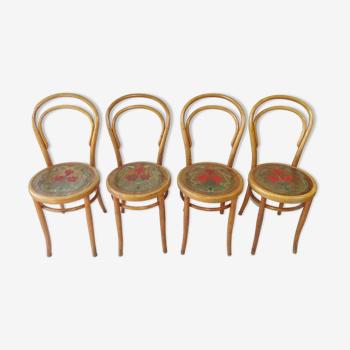 Set de 4 chaises N°14 1/2 par FIUME vers 1910 Art nouveau revisité bistrot