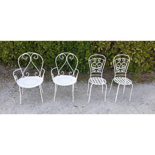 Garden Furniture 1 Table 2 Armchairs, White Wrought Iron Garden Furniture Uk
