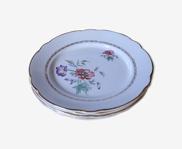 Set de 4 assiettes plates vintage motif fleuries Luneville Badonviller