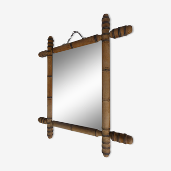 Ancien miroir en bois tourné
