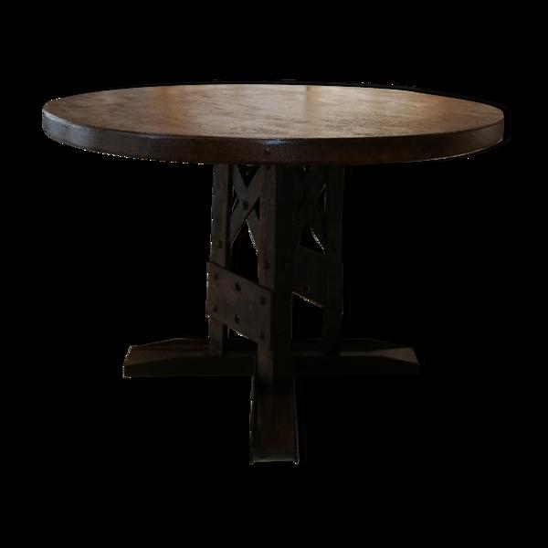 Selency Table ronde industrielle eiffel