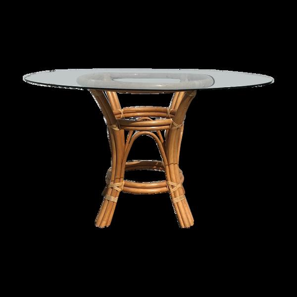 Table à manger rotin et verre
