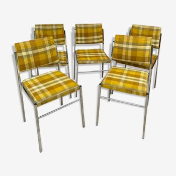 Série de 5 chaises vintage 1970 chromé et tissus