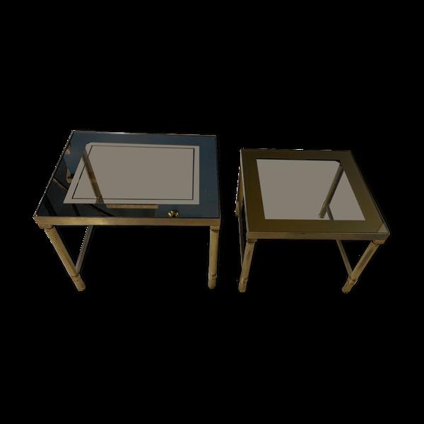Tables gigognes vintage 1970 métal doré & verre
