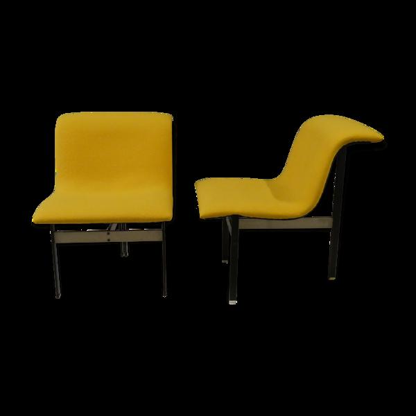 Paire de chaises wave - design Gianni Offredi - editeur saporiti italia - 1970