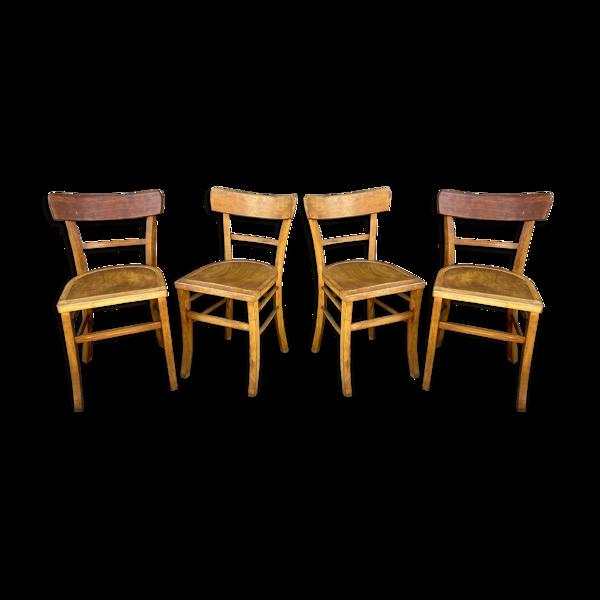 Set de 4 chaises bistrot bois courbé Baumann