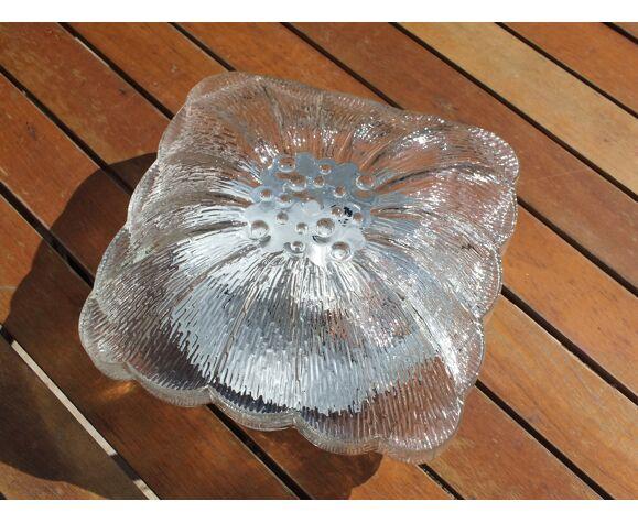 Plafonnier hublot fleur en verre moulé vintage