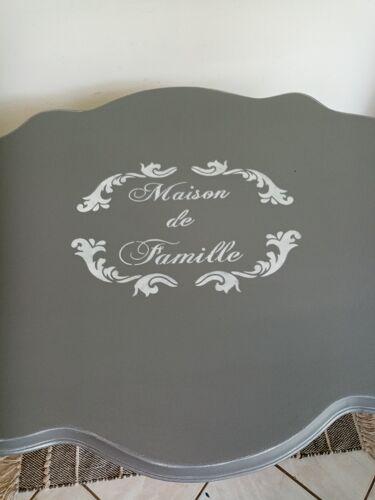 Table violon grise pochoir Maison de Famille