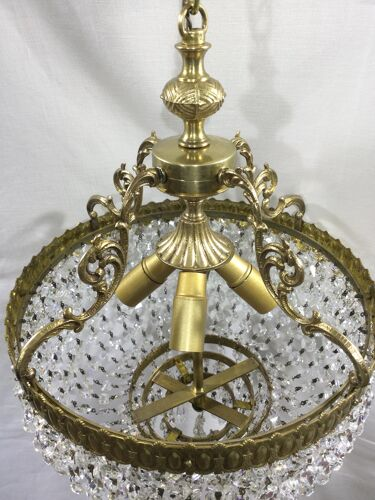 Lustre en bronze et cristal