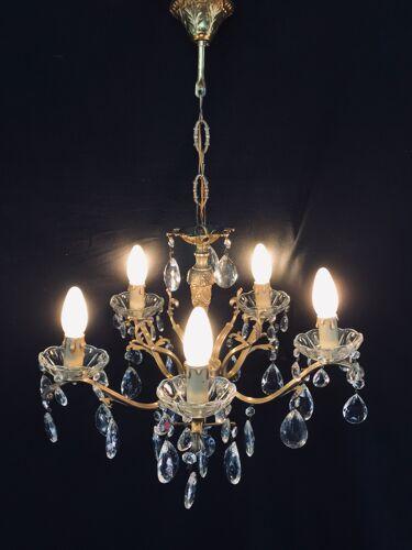 Lustre à 5 lumières cristal bronze et laiton