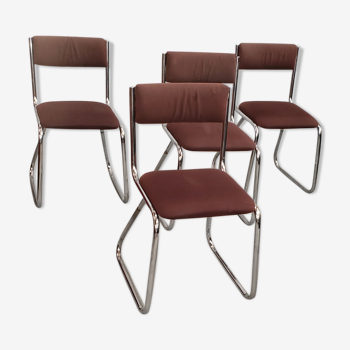 Serie 4 chaises traineau chromées