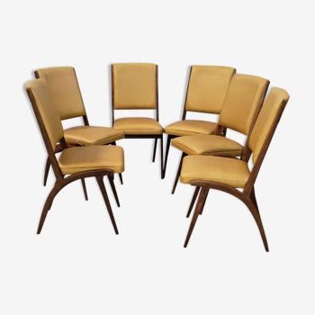 Set de 6 chaises scandinave vintage années 50/60