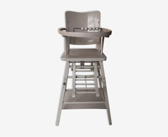 High wooden wooden baby chair repainted in grey