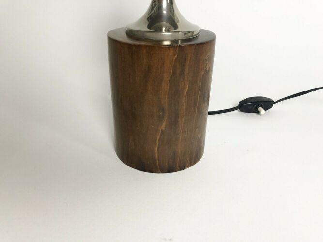 Lampe moderniste oeuf par Philippe Barbier, en noyer et acier chromé, des années 60