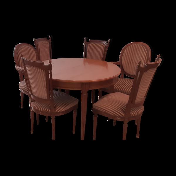 Selency Ensemble table ronde deux fauteuils et quatre chaises