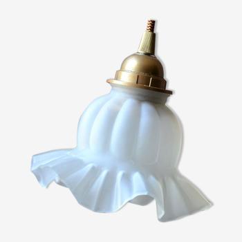 Baladeuse en verre dépoli – cordon or et bordeaux