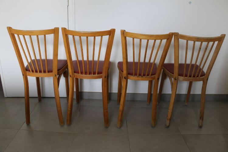 4 chaises baumann n°12 skaï rouge hêtre clair