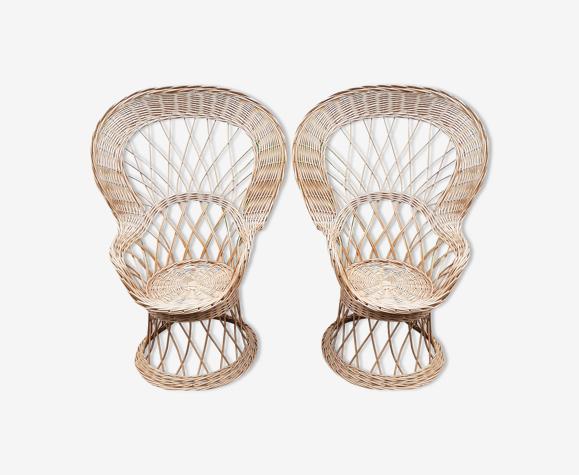 Paire de fauteuils Emmanuelle en rotin vintage