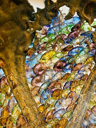 Lustre bronze et verre de Murano façon corbeille
