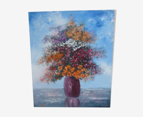 Huile sur toile, bouquet multicolore, signé Gebel