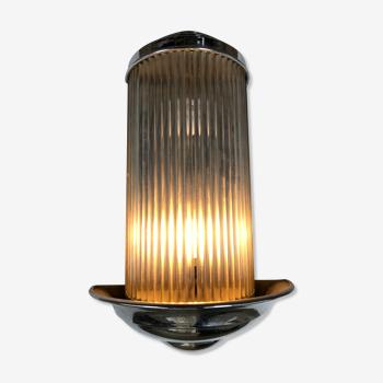 Applique Art Deco Henri Petitot chrome et tubes de verre