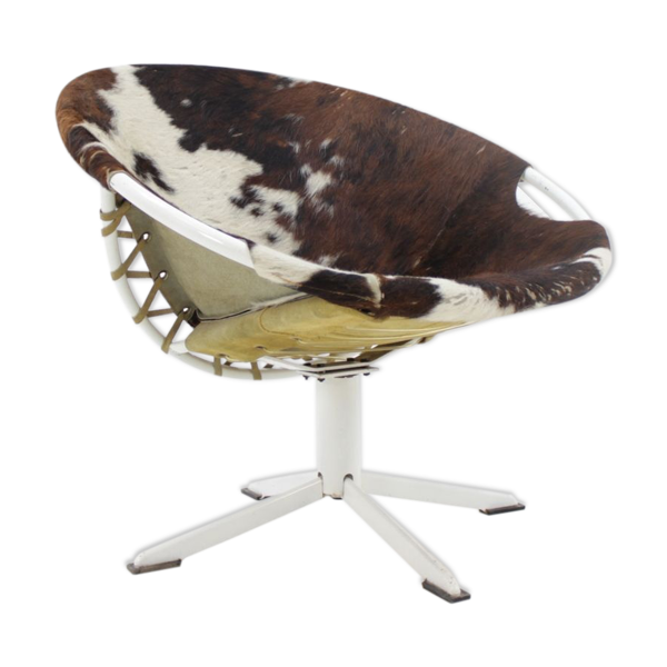Selency Chaise circle en cuir de vachette de Lusch Erzeugnis 1960s