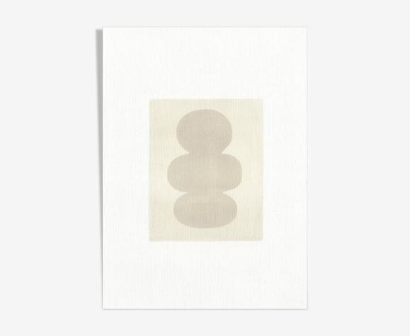 Peinture sur papier Composition abstraite signée Eawy