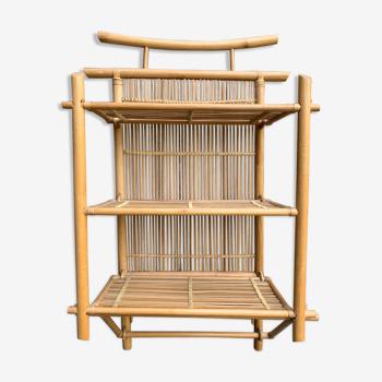 Étagère années 70 en bambou
