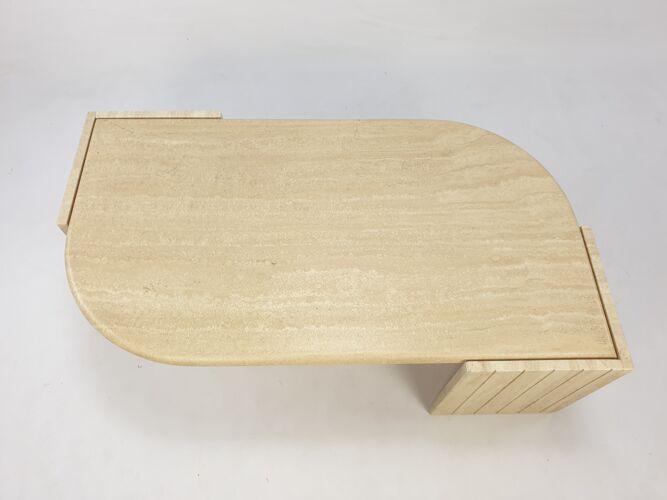 Table basse italienne travertin du milieu du siècle, années 1980