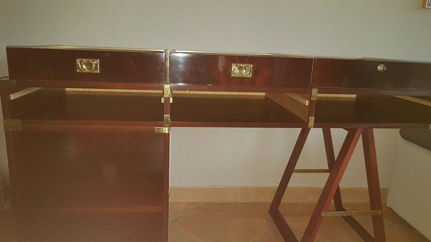 """Bureau style marin en bois d'acajou de marque """"belligotti"""""""