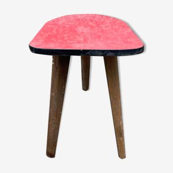 Guéridon petite table basse rouge vintage tripode porte plante midcentury 1950 ancien