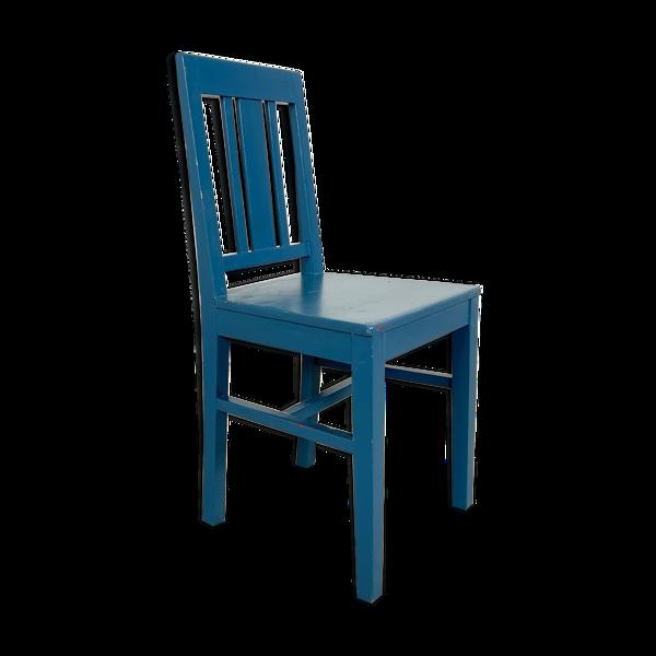 Chaise peinte bleue antique suédoise