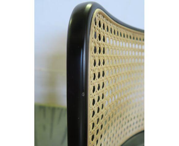 Chaise cannage noir sans accoudoir prune