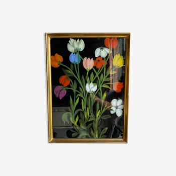 Tableau ancien , nature morte aux tulipes XX siècle